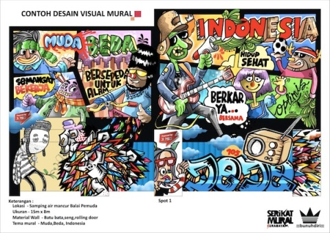 contoh desain visual mural tema Muda Beda Indonesia